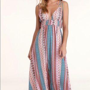 Lulu's Maxin Relaxin Boho Maxi Dress Sz M